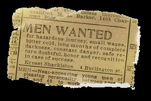 """Stellenanzeige von Ernest Shackleton für seine Arktisexpedition nach dem Prinzip """"Quid pro Quo"""""""