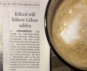 Zeitungsartikel über den Callcenterbetreiber Kixxl, der die Löhne über Tarifniveau anhebt, Quelle: Neue Osnabrücker Zeitung vom 17.10.2016