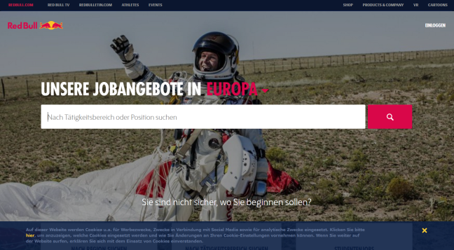 Screenshot der Red Bull Karrierewebsite