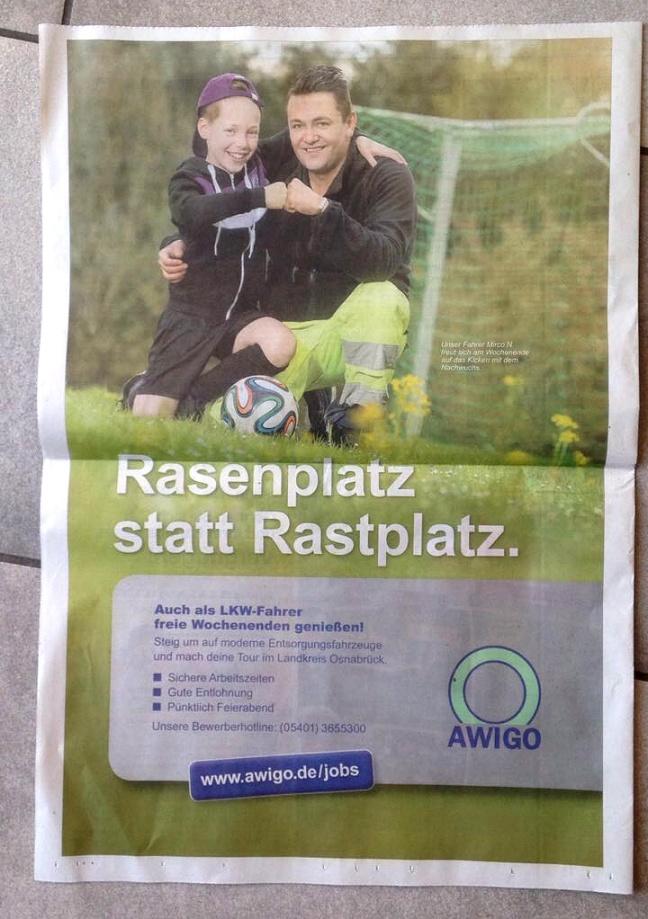 Stellenausschreibung für Awigo, LKW Fahrer mit klarem Argument gesucht: ZEit für die Familie.