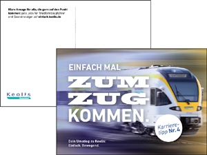 Kommunikationsmittel für Recruitingkampagne Einfach.Keolis. Hier: City Cards.
