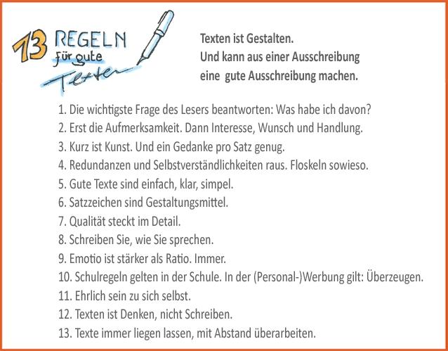 Bild mit 13 Regeln für guten Text in der Personalwerbung