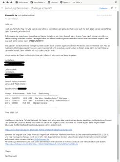 Mailtext des Onlineshops Elbenwald zur Verdeutlichung, wie gut die Tonalität eines automatisierten Dialogs die Persönlichkeit eines Unternehmens widerspiegelt.