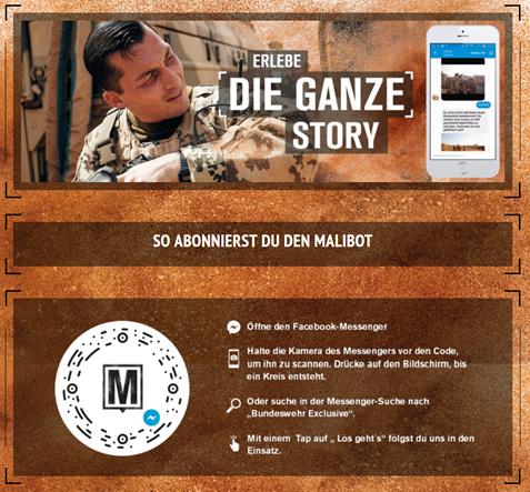Screenshot der Bundeswehraktion Malibot - ein Chatbot auf Facebook Messengerbasis.