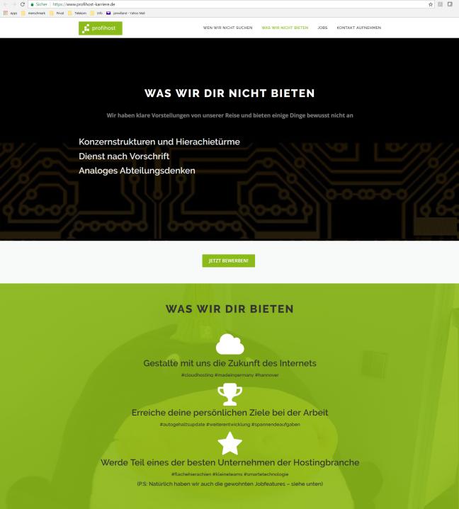Screen der Profihost Karrierewebsite: Darauf abgebildet, was das Unternehmen seinen Mitarbeitern bietet, insbesondere drei fokussierte Themen.