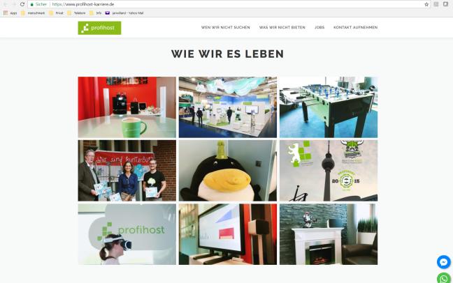Screen der Profihost Karrierewebsite mit Fotos aus dem Arbeitsalltag.