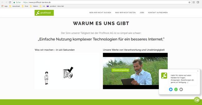 Screen der Profihost Karrierewebsite, der zwei Videos abbildet zur Frage: Warum es uns gibt.
