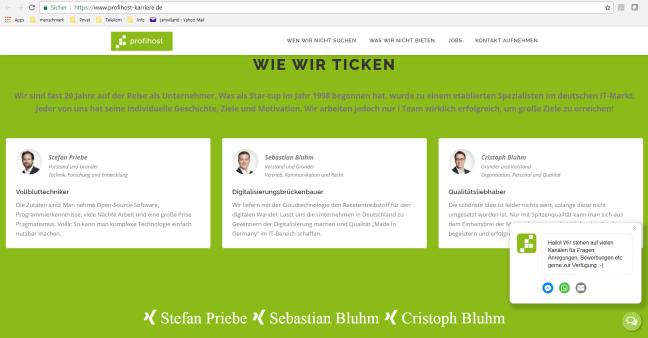 Screen der Profihost Karrierewebsite, der Testimonials zeigt.