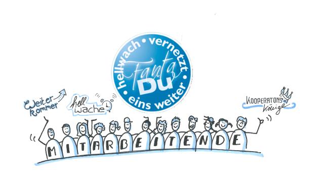 Illustration von Mitarbeitenden, die das FAntaDu Logo und die Begriffe Weiterkommer, Kooperationskönige und Hellwache auf den Händen tragen