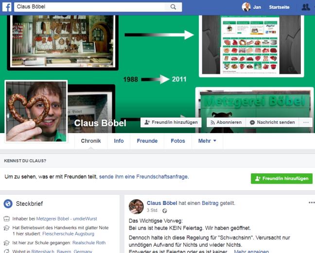 Screenhsot der Facebookseite von Metzger Claus Böbel