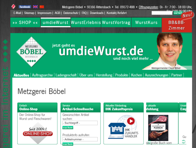 Screenhsot der Website von Metzger Claus Böbel