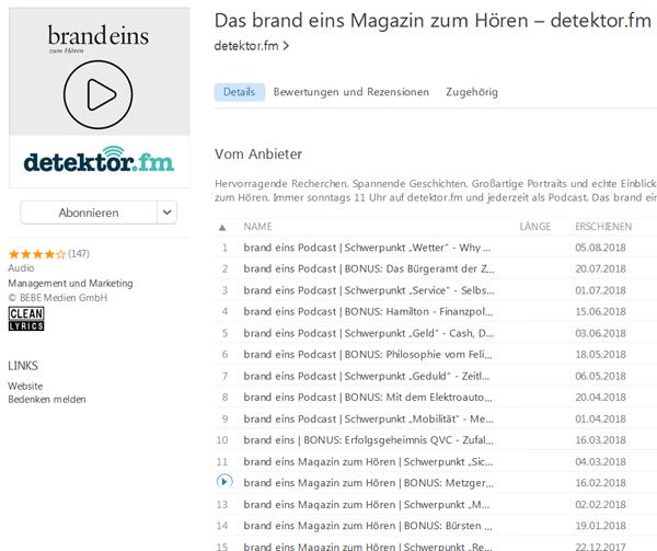 Screenshot von iTunes mit der Brand Eins Podcast Reihe und dem Beitrag zu Metzger Claus Böbel
