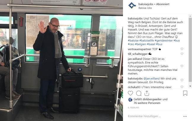 Screen des Baloise Instagram Accounts mit einer Meldung über den sympathischen CEO Gert de Winter.