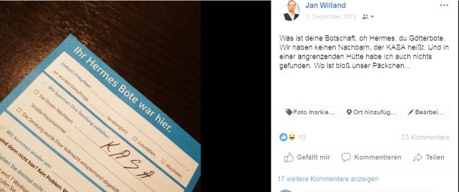 Screenshot eines Facebookbeitrages, in dem der Autor eine Paketzbenachrichtiggung zeigt, dessen Angaben kryptisch und unverständlich sind. Mit negativer Auswirkung auf die  Markenwahrnehmung.