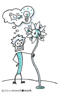 Illustration von Jan, der seine Blume der Selbstwirksamkeit im Arm hält, deren Blüte ein Corona-Virus darstellt