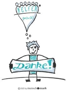 Illustration von Jan, der ein Dankeschild in der Hand hält