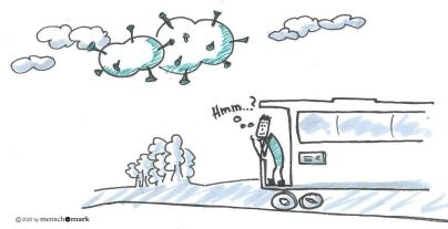 Illustration von Jan in einem Zug, Über dem Zug Corona-Wolken